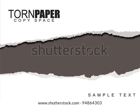 Template for presentation or web page with torn white paper - stock vector