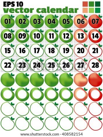 Template Production Calendar Week Begins Since Stock Vector