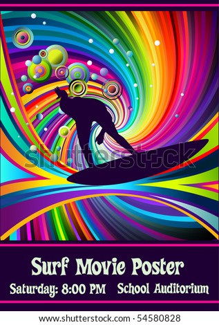 template for surf movie poster - stock vector