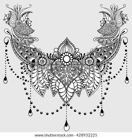 Template for tattoo design with mehndi elements. Floral ornament. Islam, arabic, indian, ottoman motifs. Black and white vector illustration on light grey background. - stock vector