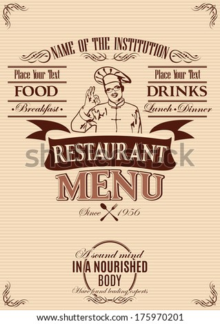 template for the cover of menu with chef - stock vector