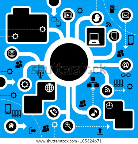 template for the info graphics with icons on the theme of internet - stock vector