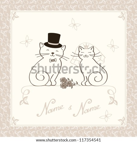 template for the invitation to wedding with kittens in golden color - stock vector