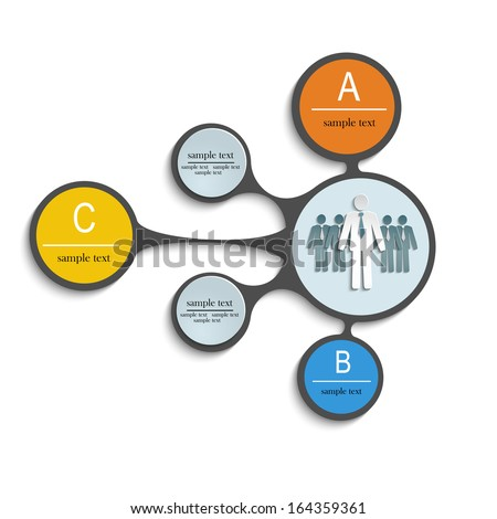 template for the labels and graphics with text and figures of people, office, business - stock vector