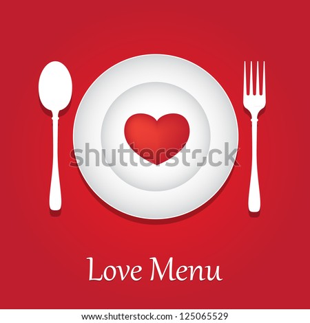 Template for Valentine day. Restaurant Menu Card Design. - stock vector