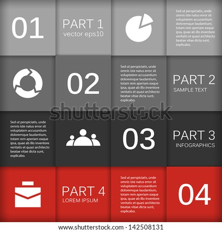 Template for your business presentation with arrows and text areas (info graphics) - stock vector
