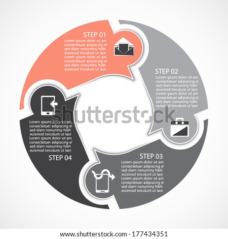 Template for your presentation, four steps - stock vector