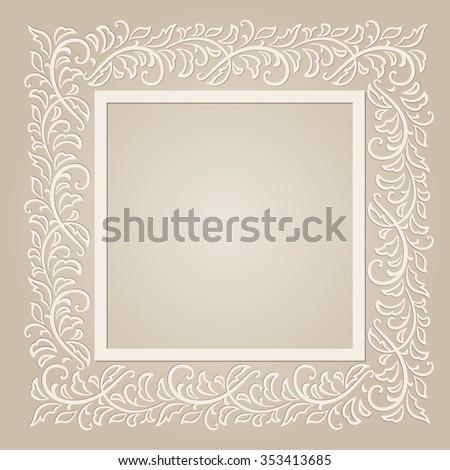 Template frame design for card - stock vector