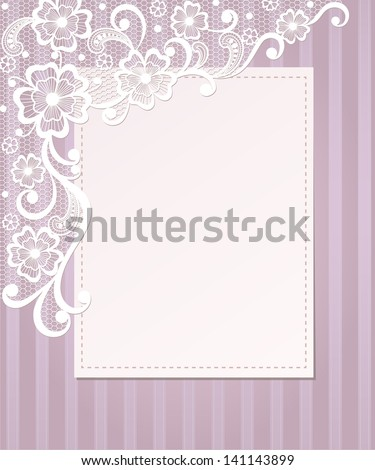 Template frame  design for card. Vintage Lace Doily - stock vector