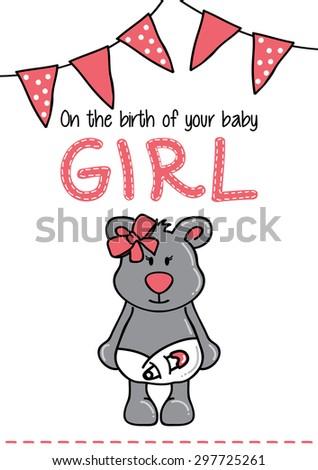 Template frame design for girl baby arrival - stock vector