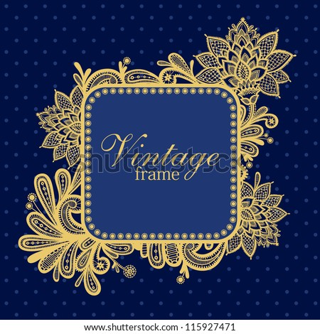Template frame design for greeting card. Invitation card with lace frame - stock vector