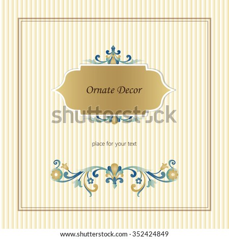 Template frame for greeting card and wedding invitation. Vector ornament border. Banners logo, web, card, vip, exclusive, certificate, gift, luxury, privilege, voucher, store, present, shopping, sale.