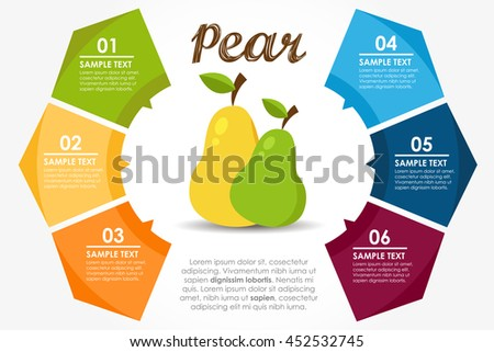Template fruits nutritional properties. Pear circle info-graphic. Vector illustration