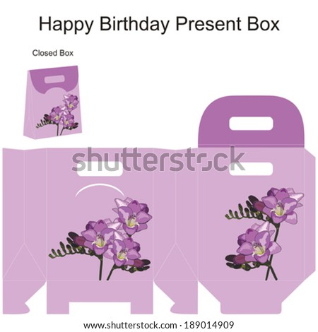 Template gift box for wedding favors. Freesia flowers bouquet. - stock vector