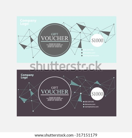 Template gift voucher of different colors. - stock vector