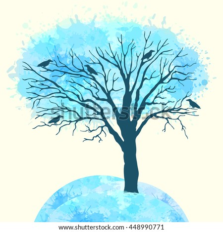Template greeting card or banner with a tree. Winter. Seasons - stock vector