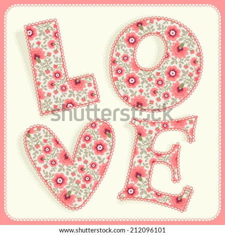 Template greeting card or invitation. Love. - stock vector