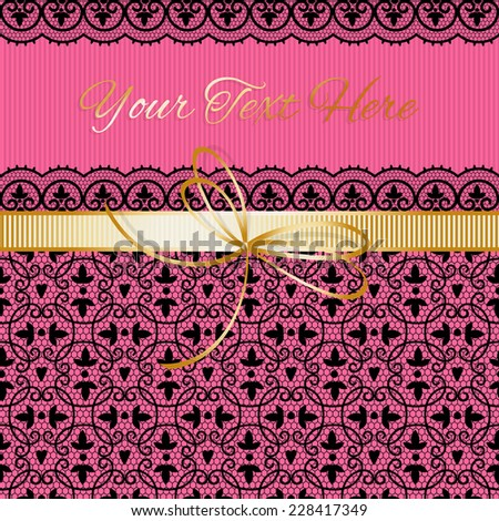 Template greeting card or invitation. Vintage lace. - stock vector