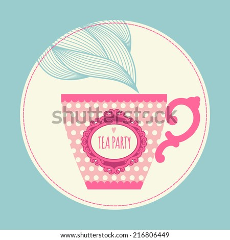 Template greeting card or invitation with a teacup. Tea party. - stock vector