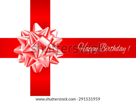 Template greeting card with realistic red and white bow on red  intersecting stripes with birthday greetings.