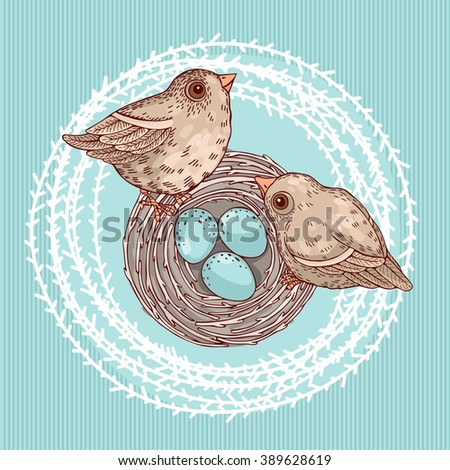 Template greeting cards and invitations with birds and a nest. Freehand drawing - stock vector