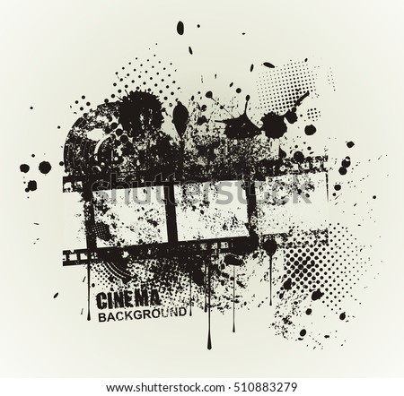 Template grunge cinema poster. Grunge banner with an inky dribble strip and copy space.