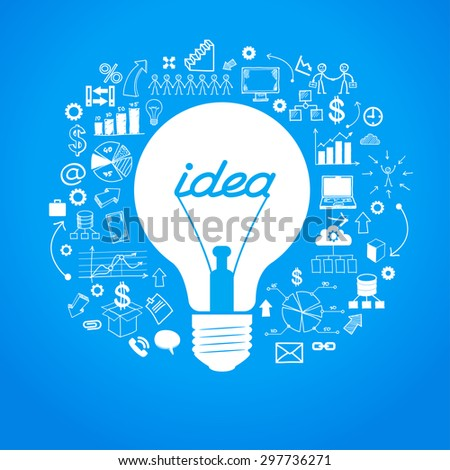 Template idea infographics. Light bulb surrounded by doodle icons - stock vector