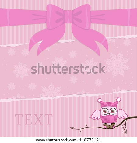 template illustration on a card with an owl in pink color - stock vector