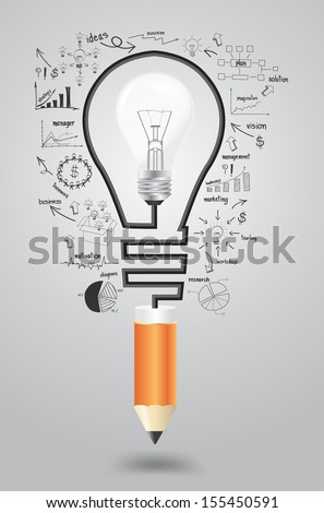 Template infographic. Business strategy plan concept idea, Light bulb with icons modern business and pencil. Vector illustration layout  template design - stock vector