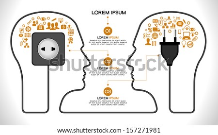 Template infographic. Concept of modern business and teamwork. Two Human head with the brain, business icons, plug,  socket, File stored in version AI10 EPS. This image contains transparency. - stock vector