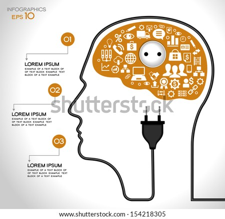 Template infographic. Concept of modern business. Human head with the brain, business icons, plug,  socket, File stored in version AI10 EPS. This image contains transparency. - stock vector