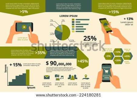 Template infographic visualization of usability smartphone. Text outlined - stock vector
