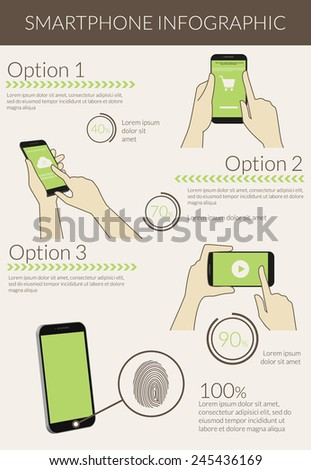 Template infographic visualization of usability smartphone. Text outlined, free font Lato - stock vector