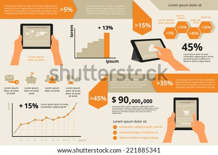 Template infographic visualization of usability tablet PC - stock vector