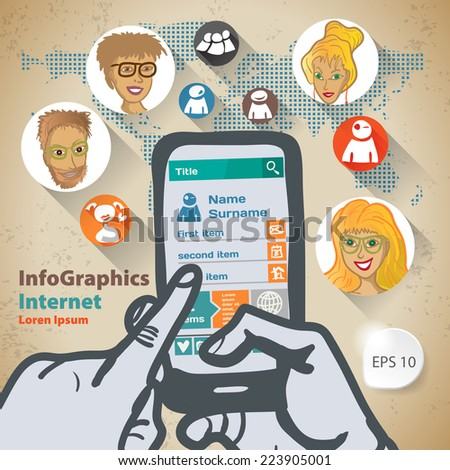 Template infographic with two hands and a smartphone Flat Design Illustration for Web Social Network - stock vector