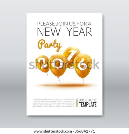 Template invitation New Year Holiday. Holiday card dedicated to the Christmas and New Year 2016. 3D balloons, Yellow colors, on a white background. Vector illustration  - stock vector
