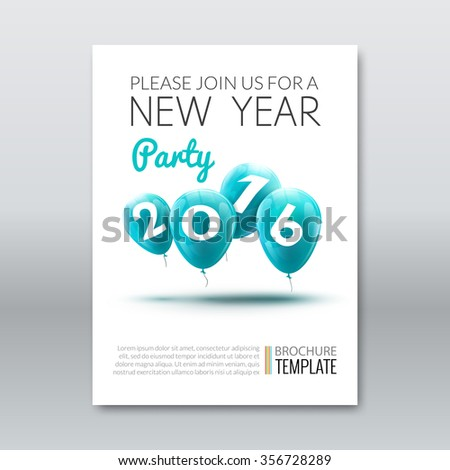 Template invitation new year holiday. Holiday card dedicated to the Christmas and New Year 2016. 3D balloons, Turquoise colors, on a white background. Vector illustration - stock vector