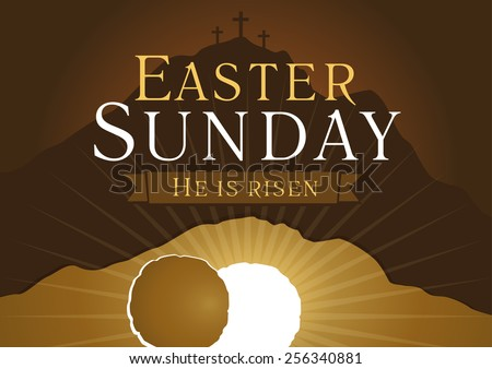 Template invitation to an Easter Sunday service in the form of rolled away from the tomb stone on a background of Calvary with three crosses.  Easter sunday holy week church card - stock vector
