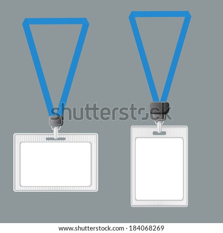 Template. Lanyard, retractor end badge. Badge templates. Set of two - stock vector