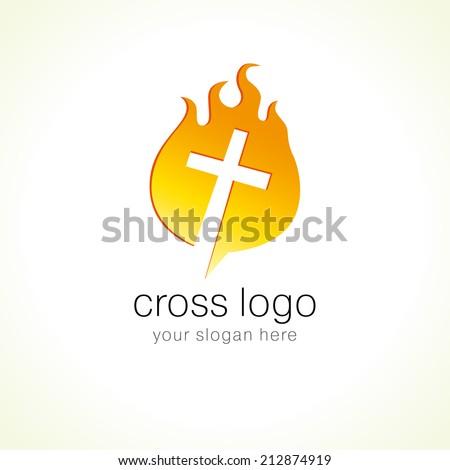 Template logo cross on fire. - stock vector