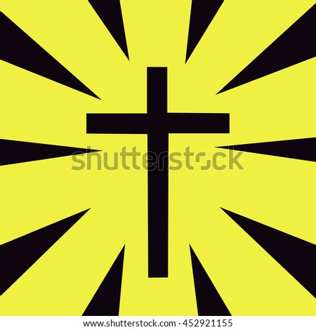Template logo for churches and christian organizations, cross of Calvary in the sun - stock vector