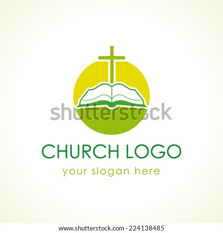 Template logo for churches and Christian organizations cross on the bible green logo. - stock vector