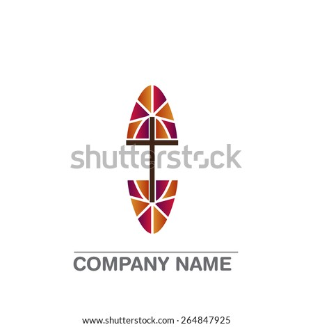 Template logo for churches and Christian organizations cross on the windows - stock vector