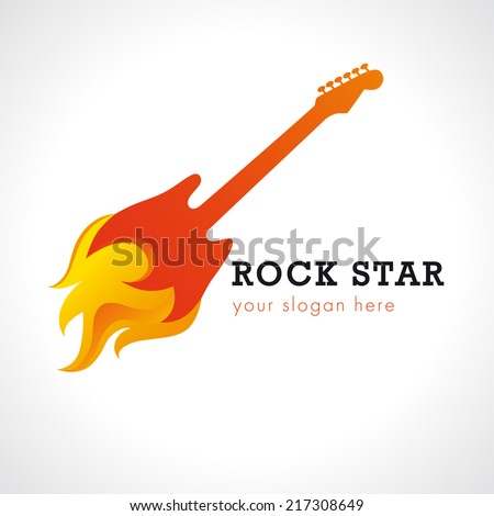 Template logo for rock band guitar on fire. Rock star logo. - stock vector