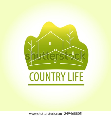 Template logo for suburban real estate. Image of houses on the background of green trees. Vector sign. Contour graphic