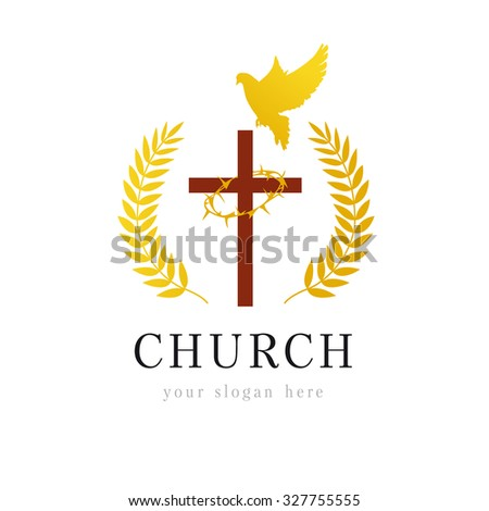 Template logo for the church in the form of a cross and a crown of thorns on it framed palms and dove. Dove cross thorns church logo - stock vector