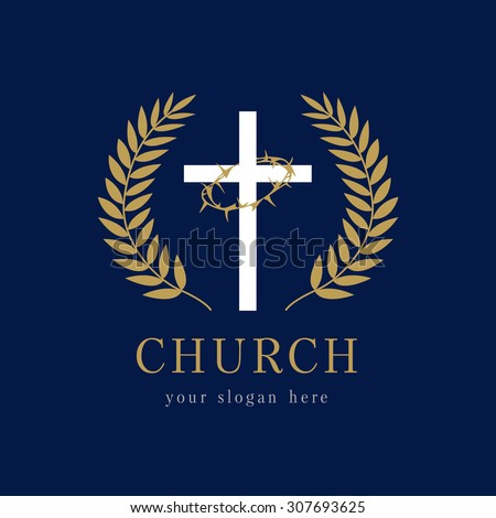Template Logo for the church in the form of a cross and a crown of thorns on it framed palms. Glory church logo - stock vector