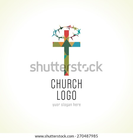 Template logo for the church in the form of a cross and a crown of thorns upon him in the form of a halo. Church cross crown of thorns logo - stock vector