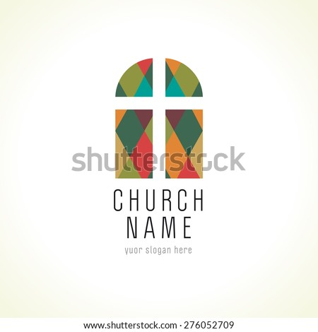 Template logo for the church in the form of a cross on a background of stained arched windows. Church cross window logo - stock vector