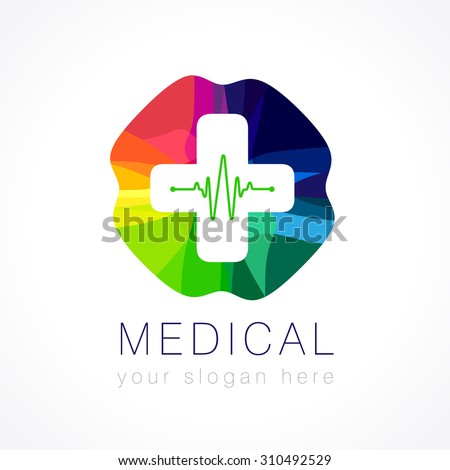 Template logo for the pharmacy or a company which ranks the sale of medical products in the form of multi-colored plus sign with a white cross in it and cardiogram. Medical color logo - stock vector